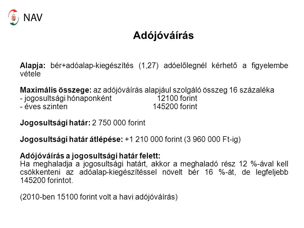 Adójóváírás Alapja: bér+adóalap-kiegészítés (1,27) adóelőlegnél kérhető a figyelembe vétele.