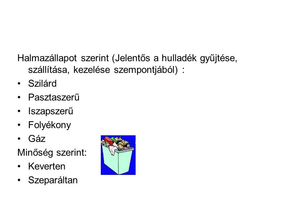 Halmazállapot szerint (Jelentős a hulladék gyűjtése, szállítása, kezelése szempontjából) :