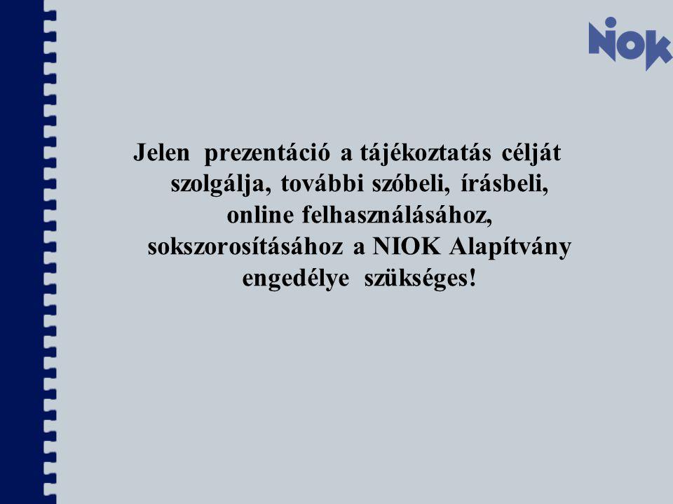 Jelen prezentáció a tájékoztatás célját szolgálja, további szóbeli, írásbeli, online felhasználásához, sokszorosításához a NIOK Alapítvány engedélye szükséges!