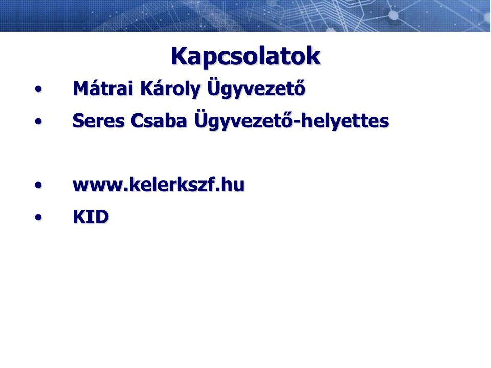 Kapcsolatok Mátrai Károly Ügyvezető Seres Csaba Ügyvezető-helyettes