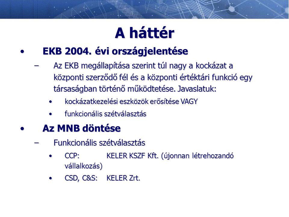 A háttér EKB 2004. évi országjelentése Az MNB döntése
