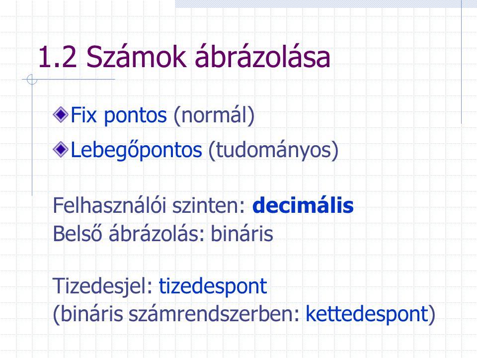 1.2 Számok ábrázolása Fix pontos (normál) Lebegőpontos (tudományos)