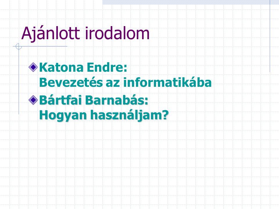 Ajánlott irodalom Katona Endre: Bevezetés az informatikába
