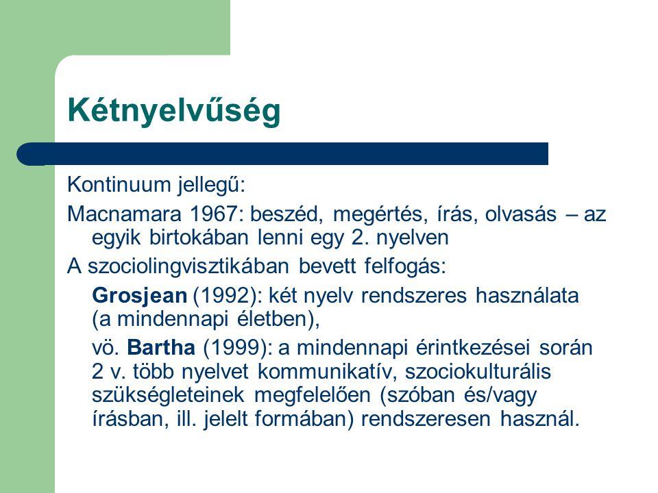 Kétnyelvűség Kontinuum jellegű: