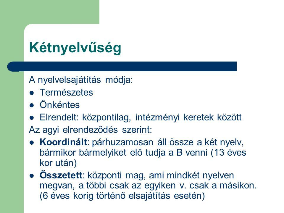 Kétnyelvűség A nyelvelsajátítás módja: Természetes Önkéntes