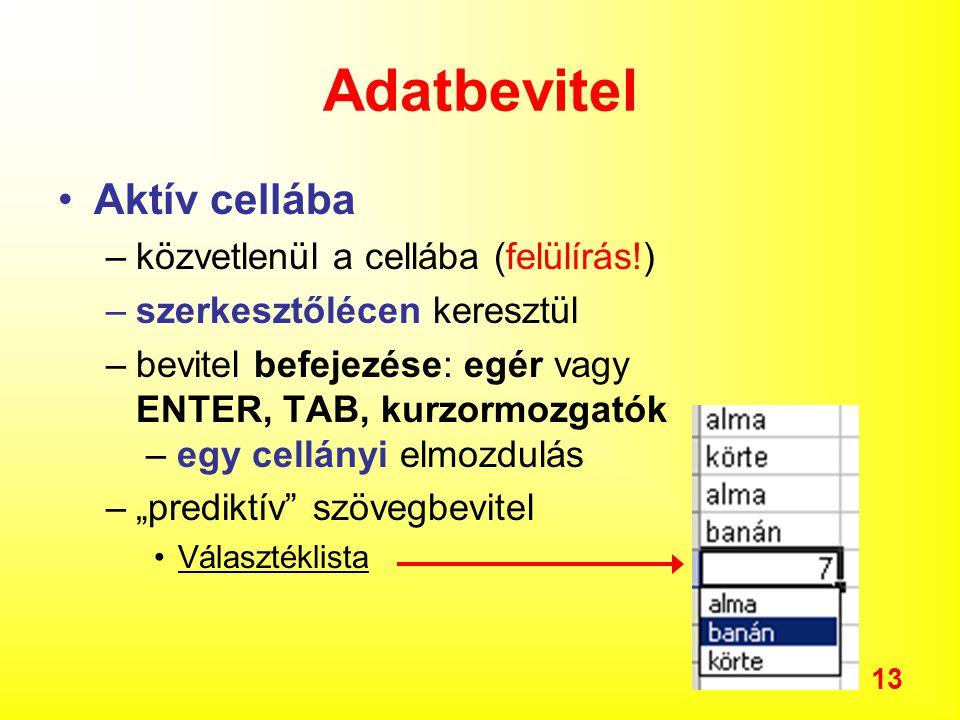 Adatbevitel Aktív cellába közvetlenül a cellába (felülírás!)