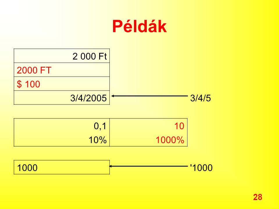 Példák 2 000 Ft 2000 FT $ 100 3/4/2005 3/4/5 0,1 10 10% 1000% 1000 1000