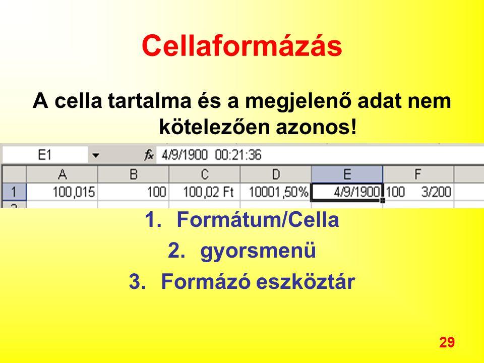 A cella tartalma és a megjelenő adat nem kötelezően azonos!