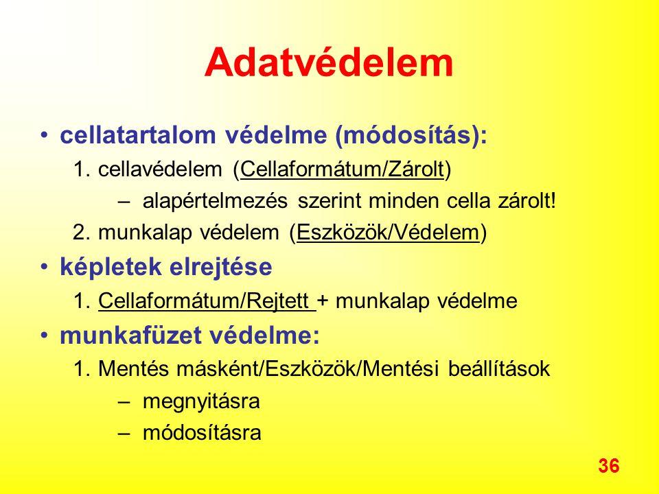 Adatvédelem cellatartalom védelme (módosítás): képletek elrejtése