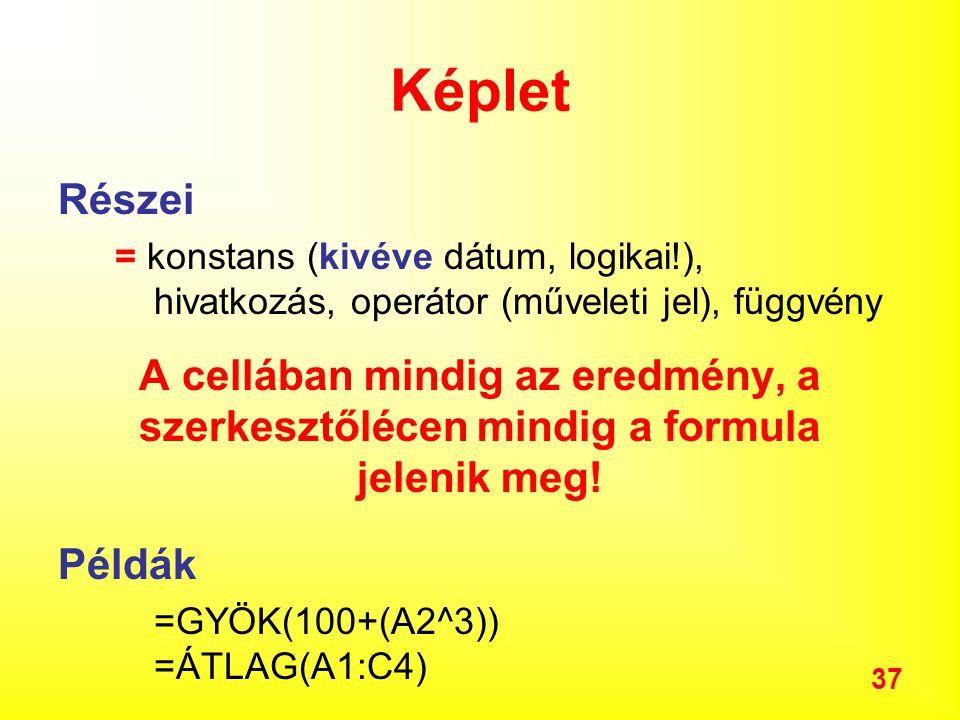 Képlet Részei. = konstans (kivéve dátum, logikai!), hivatkozás, operátor (műveleti jel), függvény.