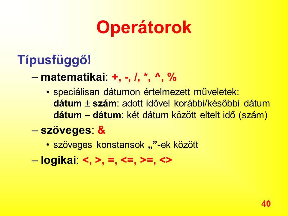 Operátorok Típusfüggő! matematikai: +, -, /, *, ^, % szöveges: &