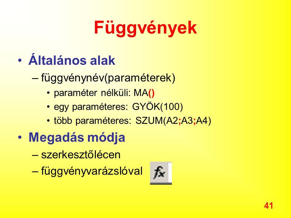 Függvények Általános alak Megadás módja függvénynév(paraméterek)