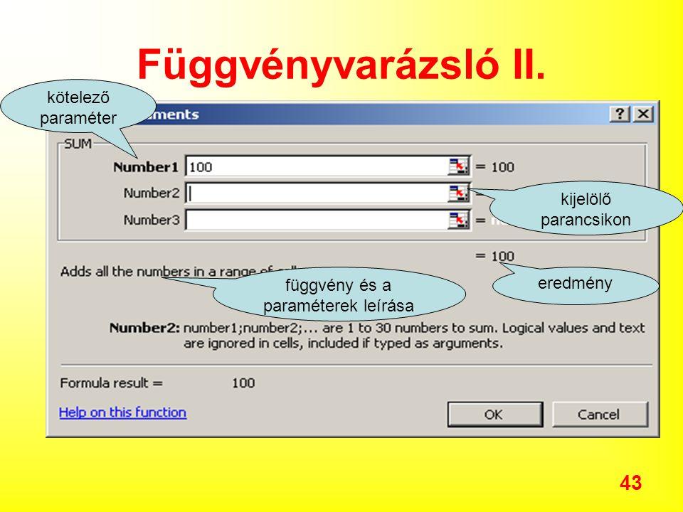 függvény és a paraméterek leírása