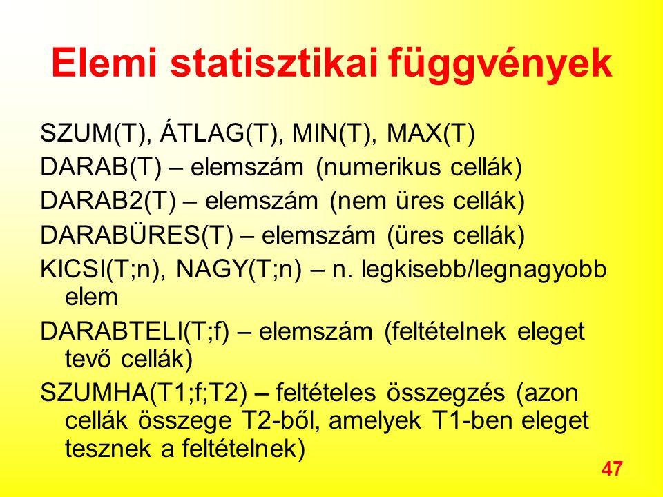 Elemi statisztikai függvények