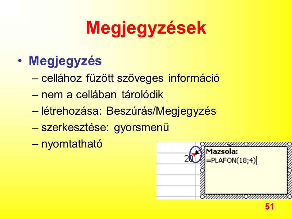 Megjegyzések Megjegyzés cellához fűzött szöveges információ