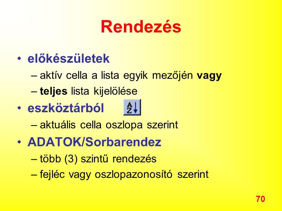 Rendezés előkészületek eszköztárból ADATOK/Sorbarendez