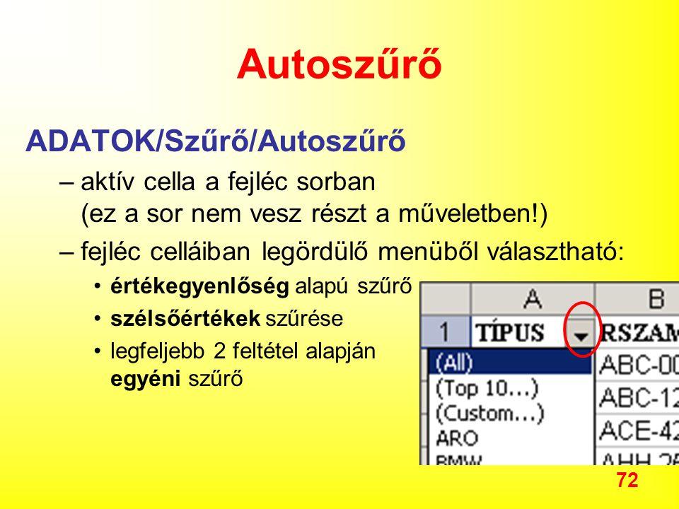 Autoszűrő ADATOK/Szűrő/Autoszűrő