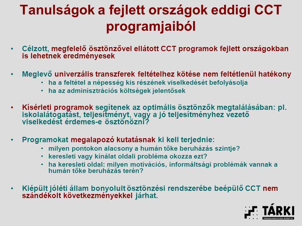 Tanulságok a fejlett országok eddigi CCT programjaiból