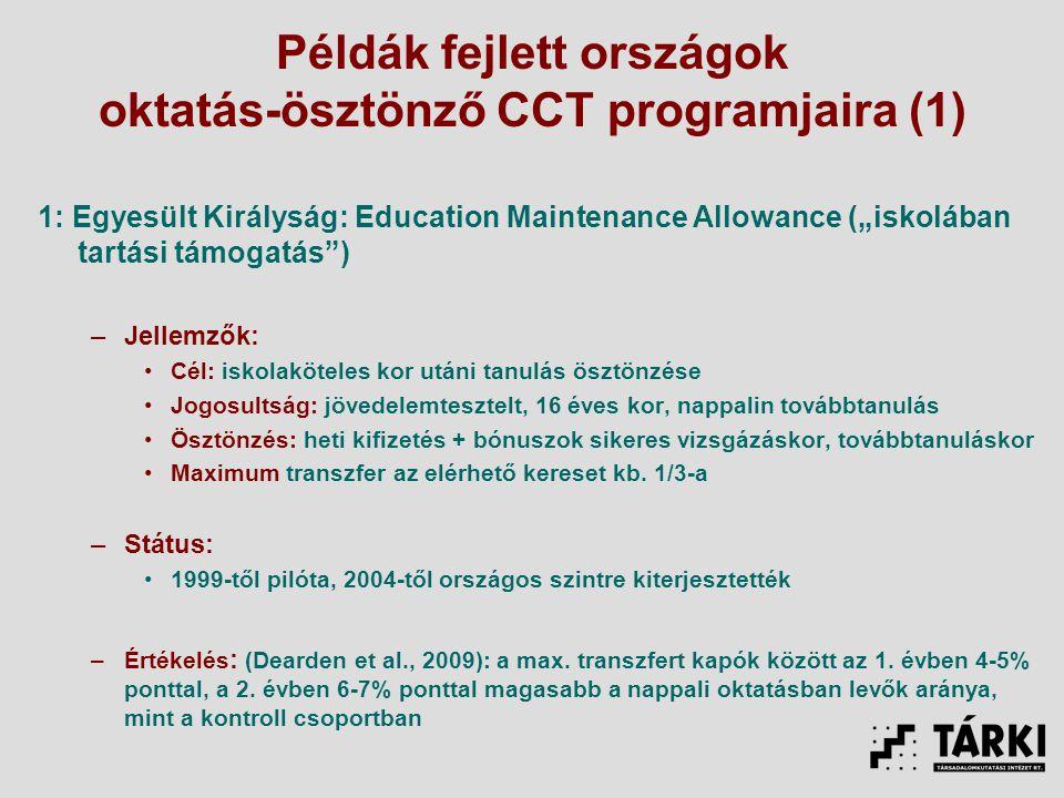 Példák fejlett országok oktatás-ösztönző CCT programjaira (1)