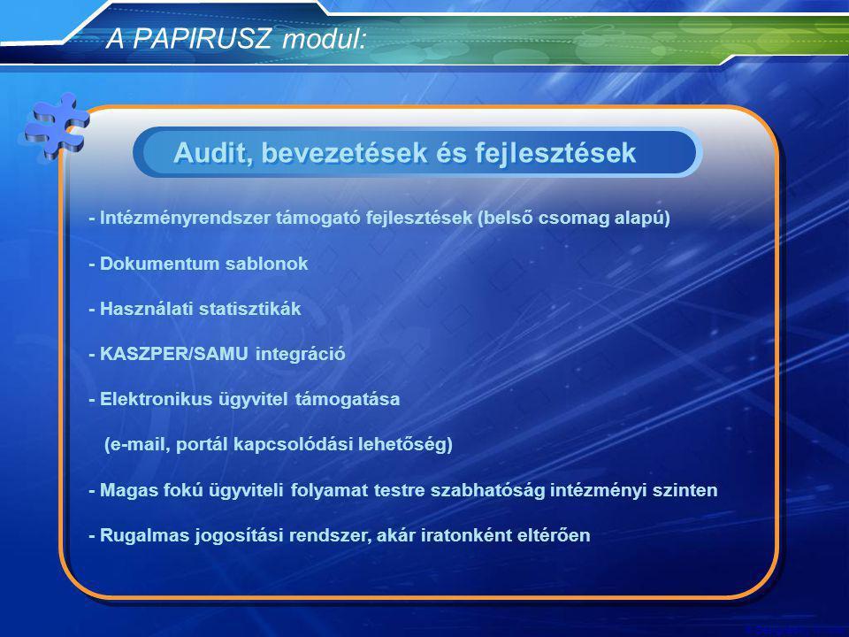 Audit, bevezetések és fejlesztések