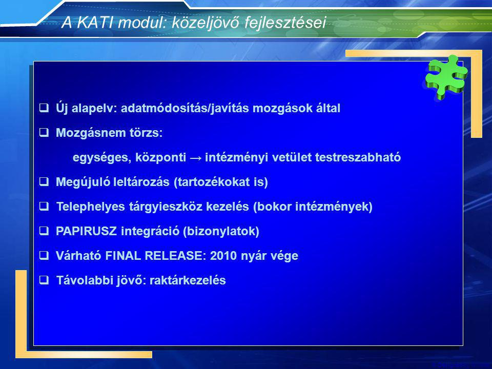 A KATI modul: közeljövő fejlesztései
