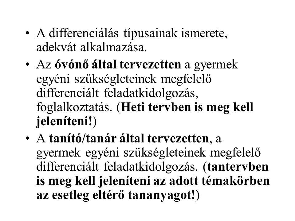 A differenciálás típusainak ismerete, adekvát alkalmazása.