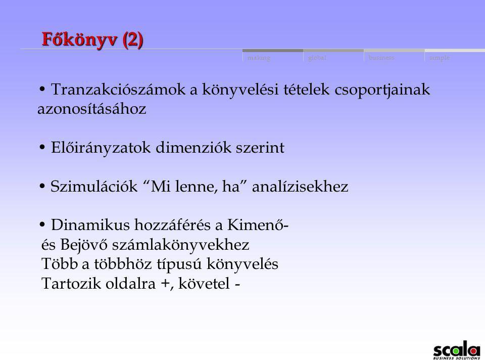 Főkönyv (2) Tranzakciószámok a könyvelési tételek csoportjainak azonosításához. Előirányzatok dimenziók szerint.