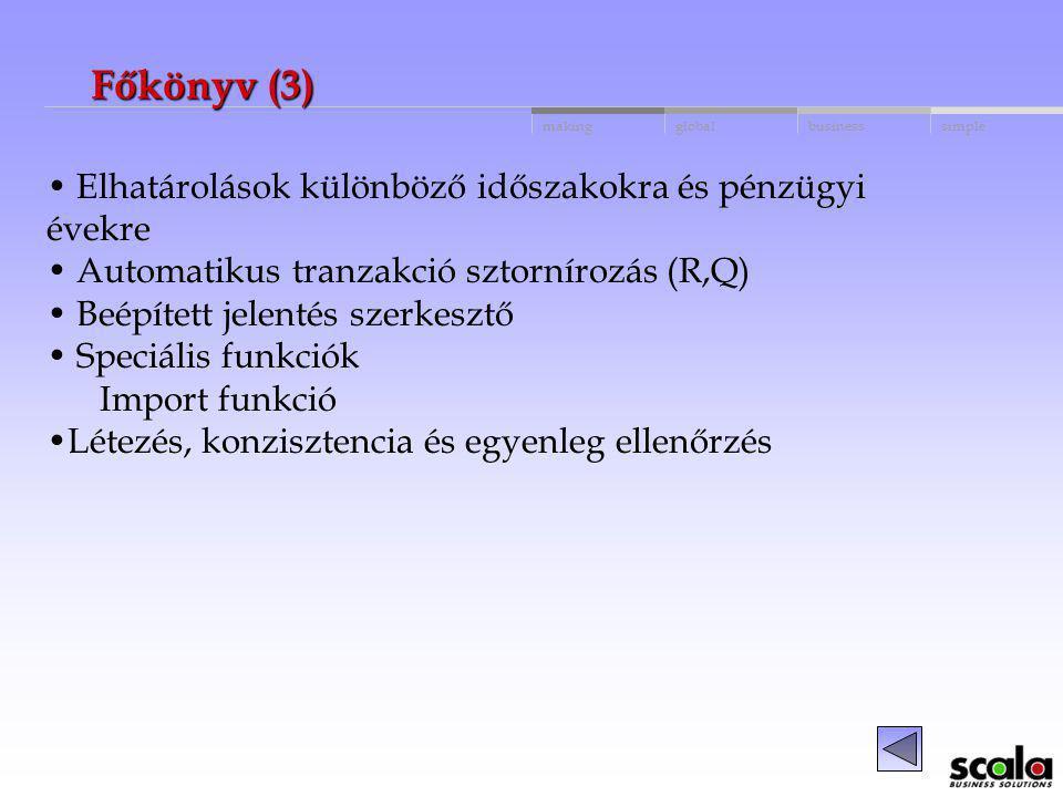 Főkönyv (3) Elhatárolások különböző időszakokra és pénzügyi évekre