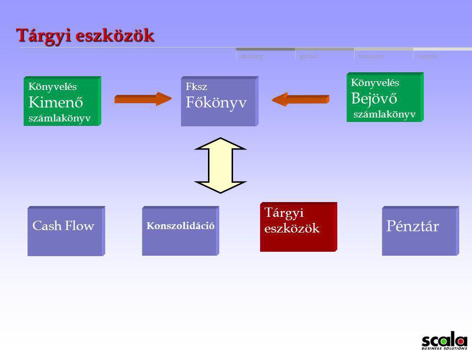 Tárgyi eszközök Bejövő Kimenő Főkönyv Pénztár Tárgyi Cash Flow