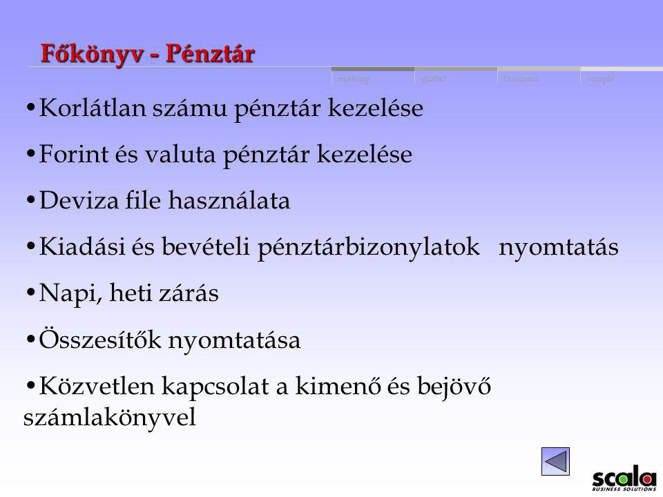 Főkönyv - Pénztár Korlátlan számu pénztár kezelése. Forint és valuta pénztár kezelése. Deviza file használata.