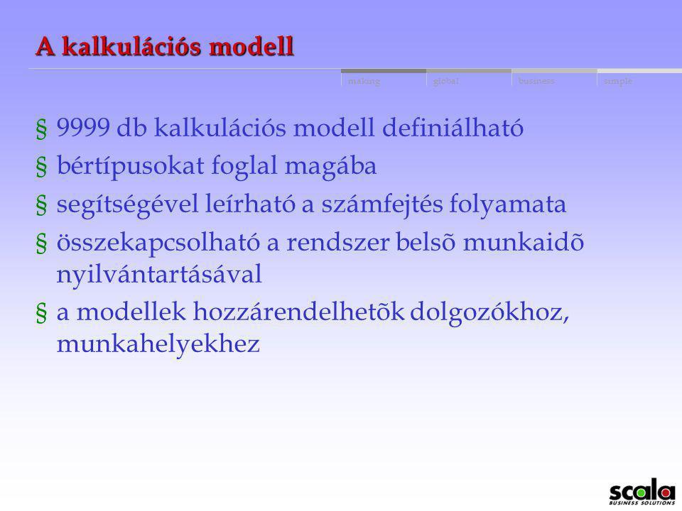 A kalkulációs modell 9999 db kalkulációs modell definiálható. bértípusokat foglal magába. segítségével leírható a számfejtés folyamata.