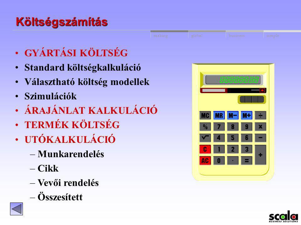 Költségszámítás GYÁRTÁSI KÖLTSÉG Standard költségkalkuláció