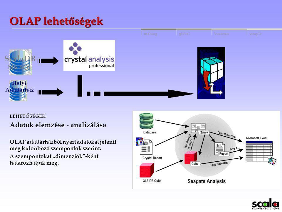 OLAP lehetőségek ScalaDB Adatok elemzése - analizálása MS SQL Helyi