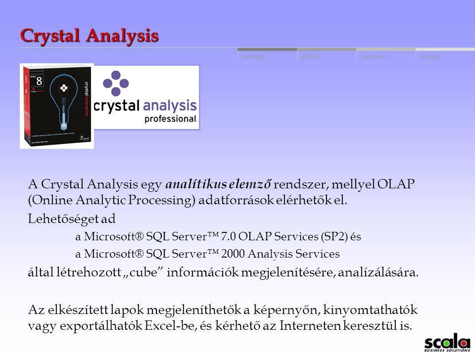 Crystal Analysis A Crystal Analysis egy analítikus elemző rendszer, mellyel OLAP (Online Analytic Processing) adatforrások elérhetők el.