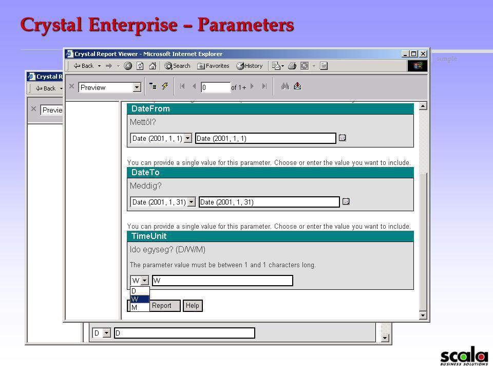 Crystal Enterprise – Parameters