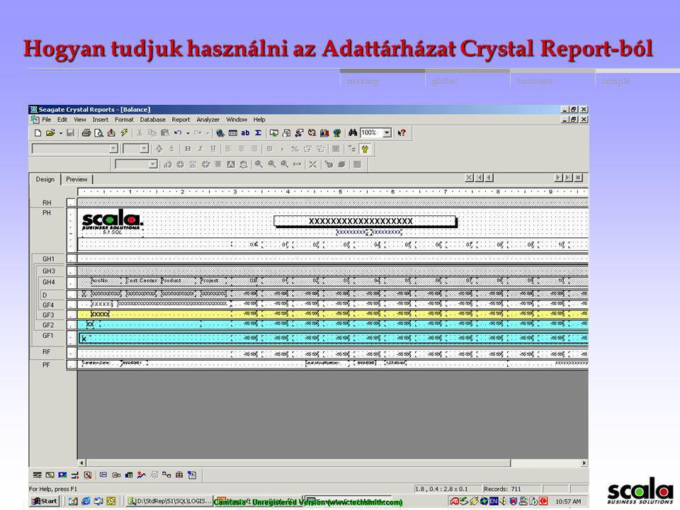 Hogyan tudjuk használni az Adattárházat Crystal Report-ból
