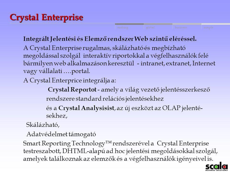 Crystal Enterprise Integrált Jelentési és Elemző rendszer Web szintű eléréssel.