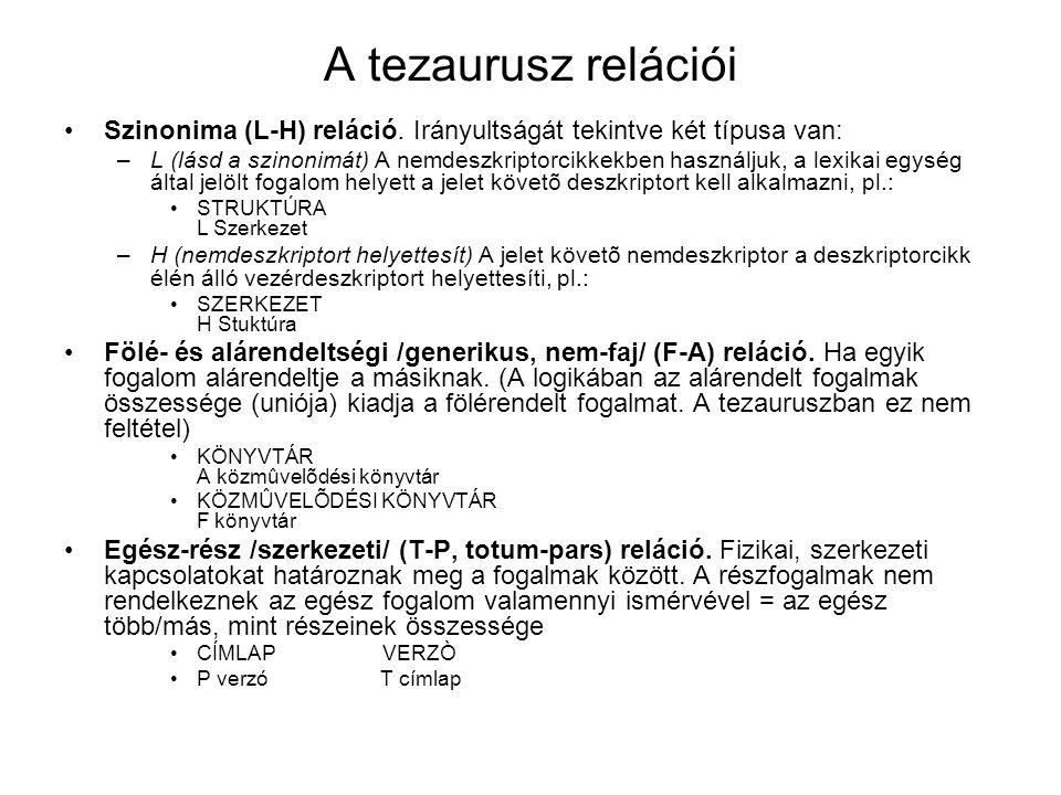 A tezaurusz relációi Szinonima (L-H) reláció. Irányultságát tekintve két típusa van: