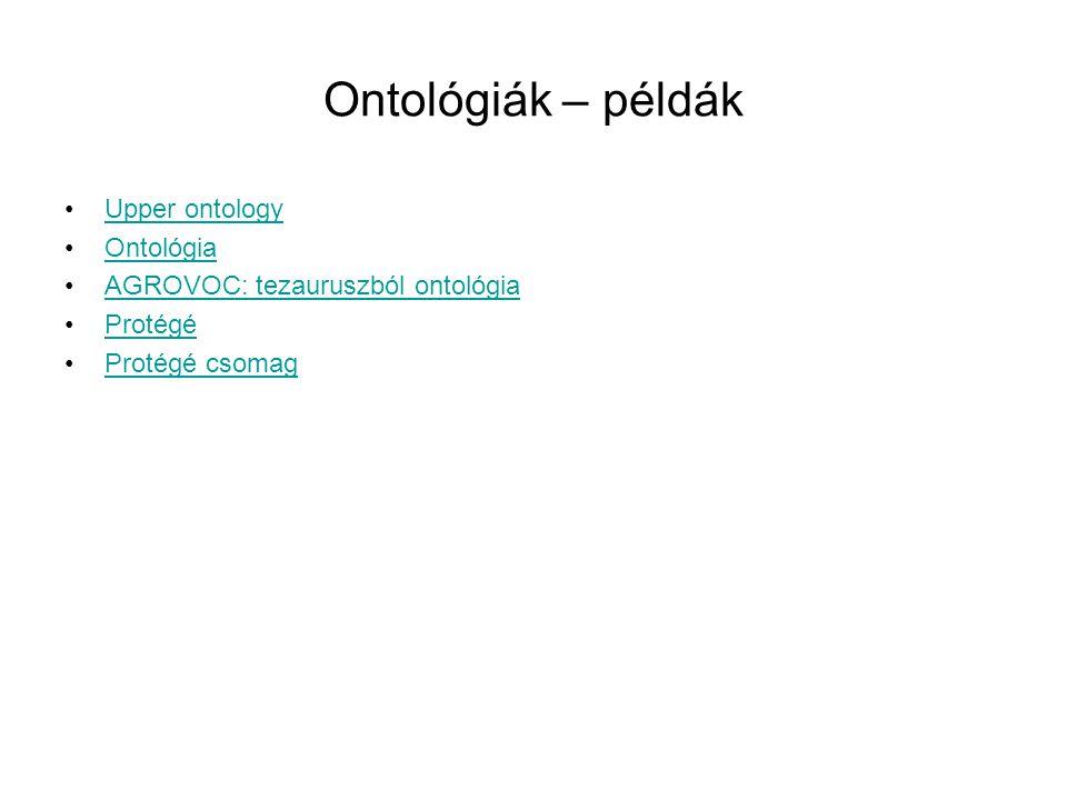 Ontológiák – példák Upper ontology Ontológia