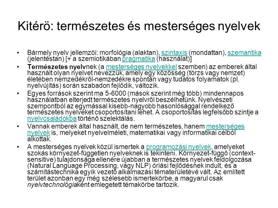 Kitérö: természetes és mesterséges nyelvek
