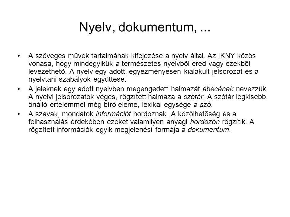 Nyelv, dokumentum, ...