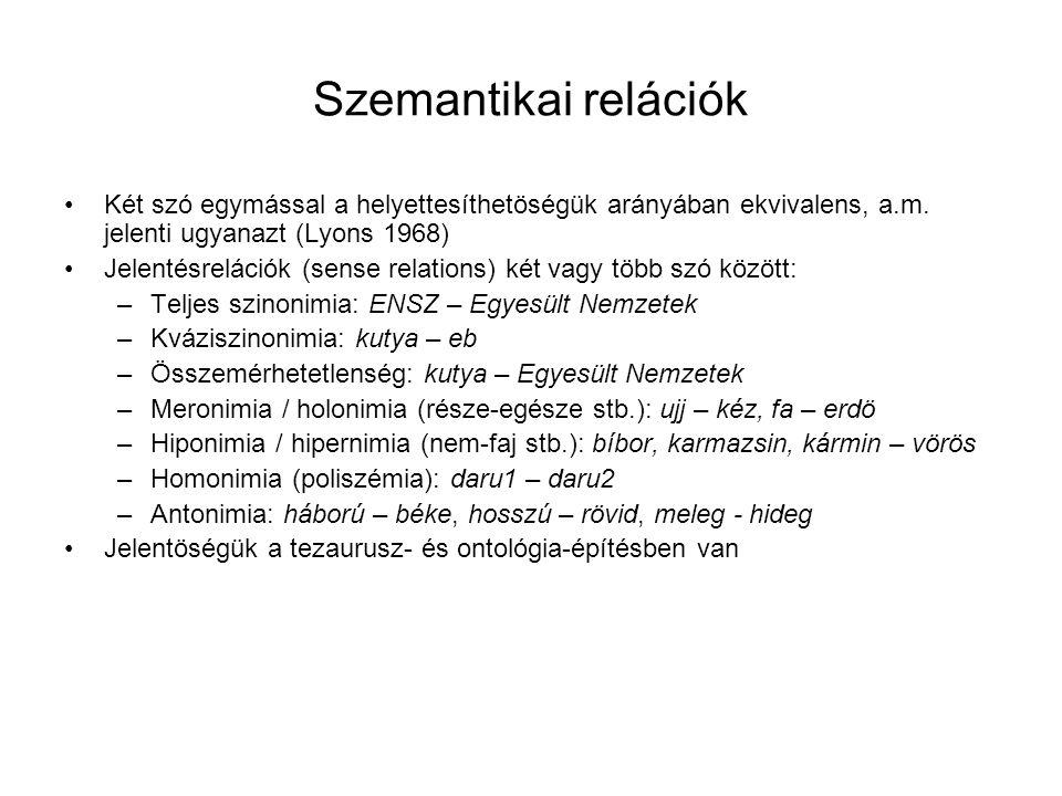 Szemantikai relációk Két szó egymással a helyettesíthetöségük arányában ekvivalens, a.m. jelenti ugyanazt (Lyons 1968)
