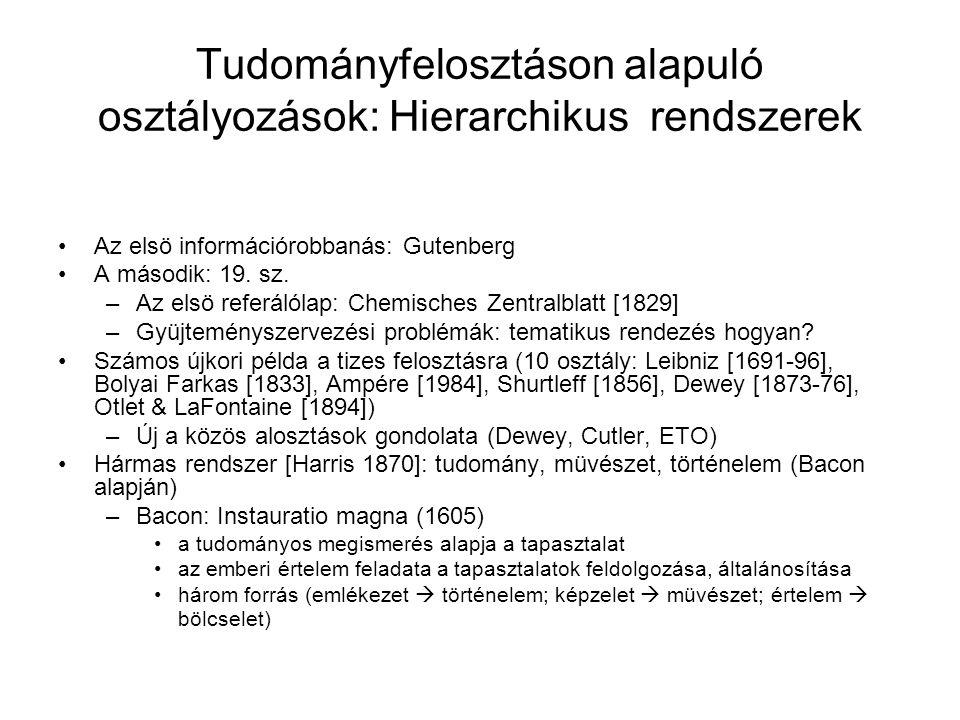 Tudományfelosztáson alapuló osztályozások: Hierarchikus rendszerek