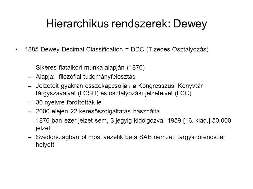Hierarchikus rendszerek: Dewey