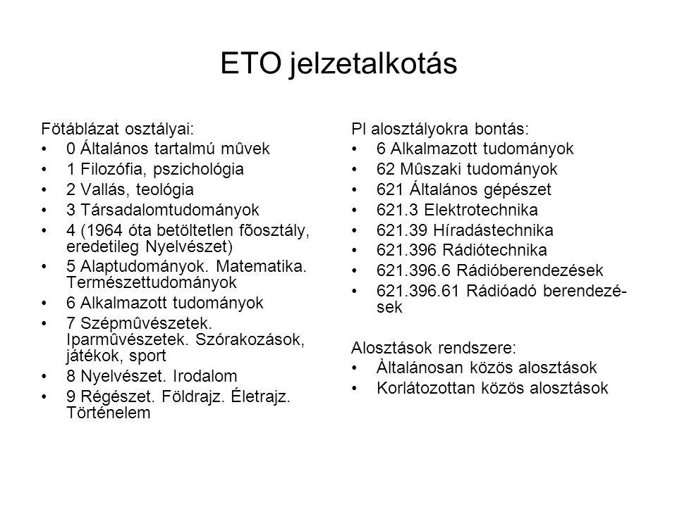 ETO jelzetalkotás Fötáblázat osztályai: 0 Általános tartalmú mûvek