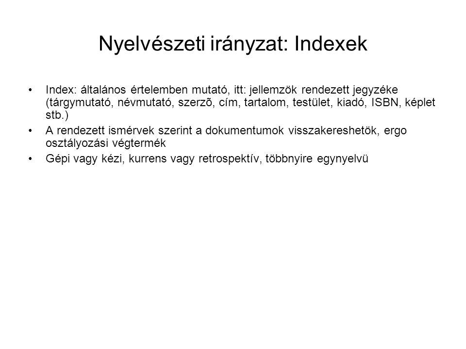 Nyelvészeti irányzat: Indexek
