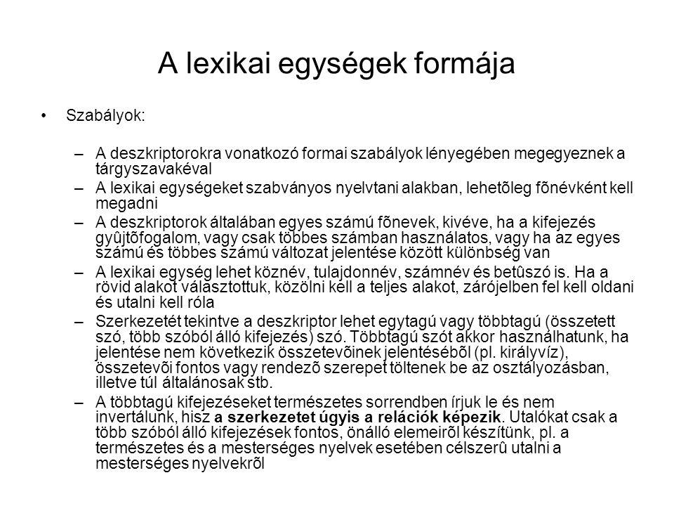 A lexikai egységek formája