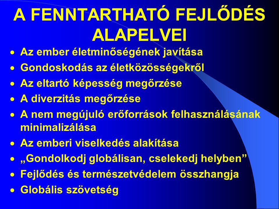 A FENNTARTHATÓ FEJLŐDÉS ALAPELVEI