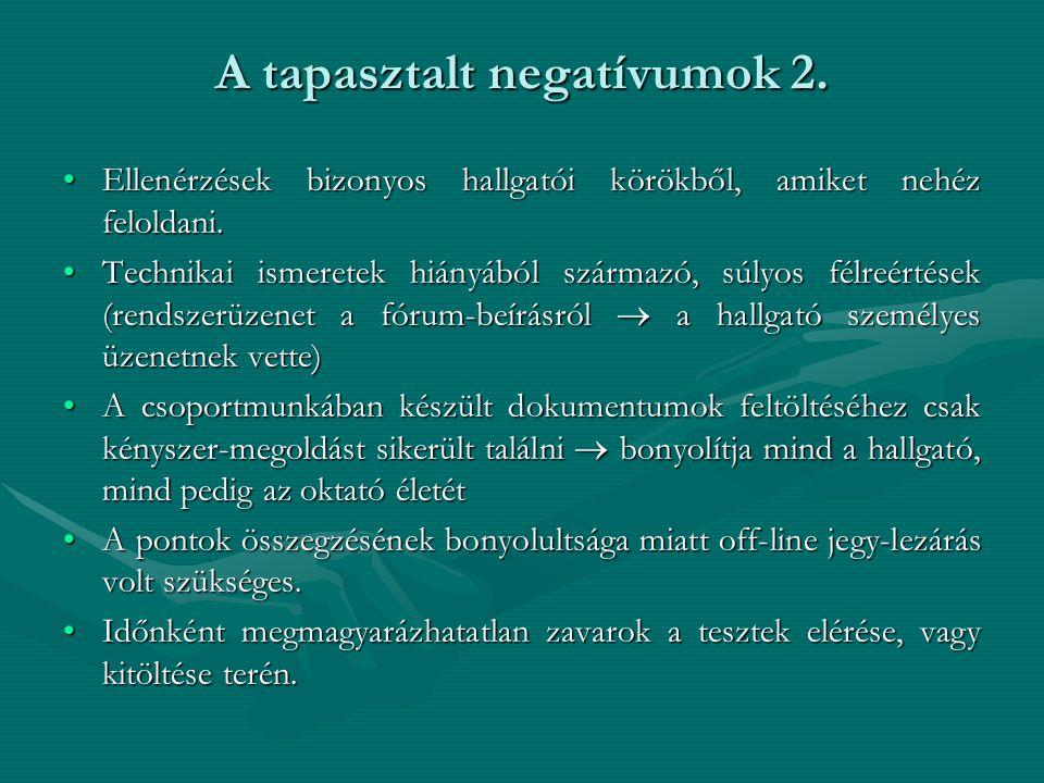 A tapasztalt negatívumok 2.