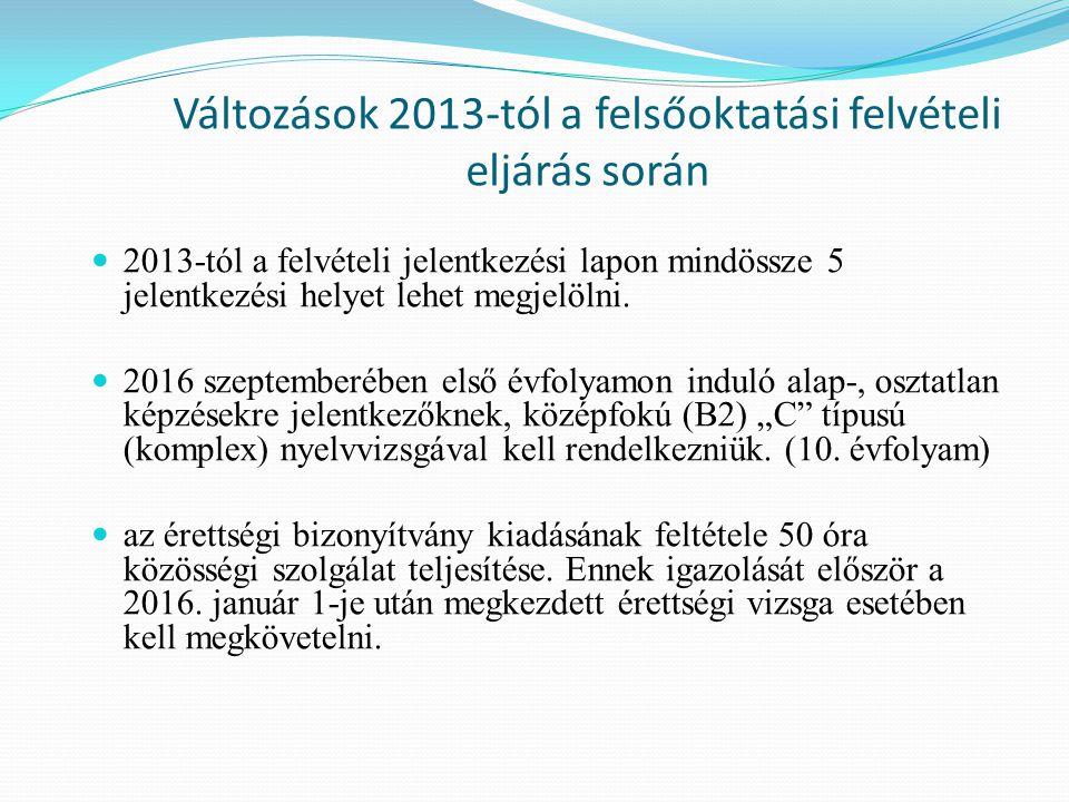 Változások 2013-tól a felsőoktatási felvételi eljárás során